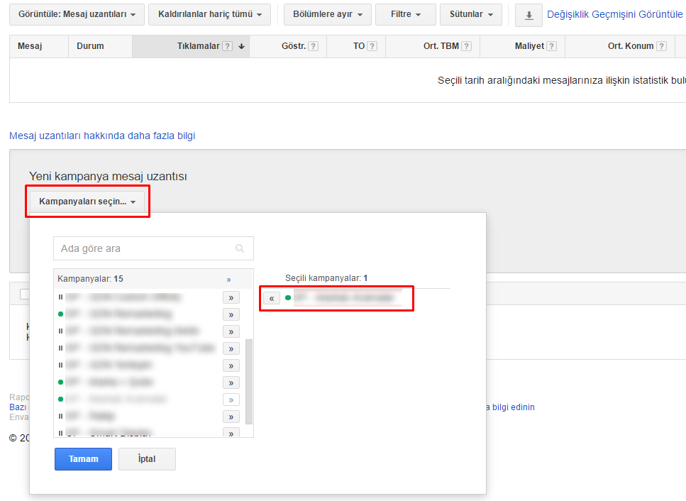 adwords sms extension choosing campaigns